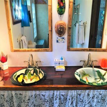 Special hand made ceramic sinks at Coral Hill Bungalows