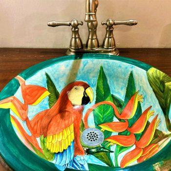Close up of custom painted ceramic sink