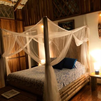 Interior bungalow view with soft, romantic lighting