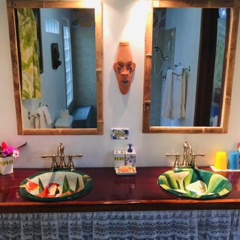Handmade ceramic sinks in Colibri Bungalow at Coral Hill Bungalows